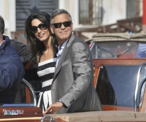 George Clooney and his wife Amal out enjoying the weather